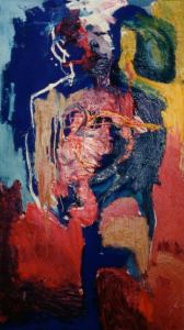 The Man Without a Heart, 1992. Oil on Canvas, 100 X 180cm, K. Lever, Harare -