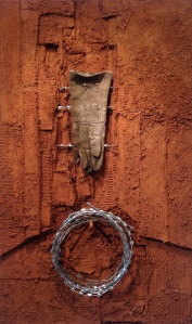 Still Life, 2012. Soil, wire and glove on canvas. 120 x 80 cm.