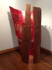 """Hondo"", 2013. Soil, aluminium, oil, nails on paper structure. Height 223cm"