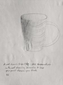 Kayla, cup. 20 x 25cm, pencil.
