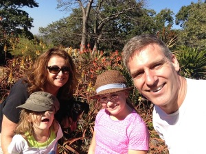 My wife Shaunagh, and my two daughters Hannah and Eden with me at Ewanrigg Botanical Gardens near Harare.