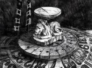 The Broken Stool, 2016. Digital Drawing, 3094x4036px; printed on matte wallpaper.