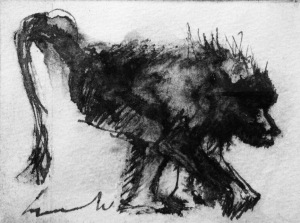 "Arthur Azvedo, 1991. ""Baboon"", Etching and Ink on Paper. 5 x 7cm"