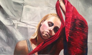 Michelle with red cloth, 2016. Acrylic on Paper.