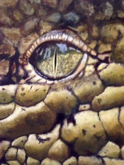 "Andrea Whitin, ""Crocodile eye"", Acrylic on Paper"