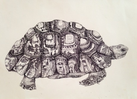 "Andrea Whitin, ""Tortoise"", Ink on Paper"